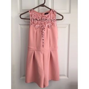 Peachy Pink Lace-front Romper